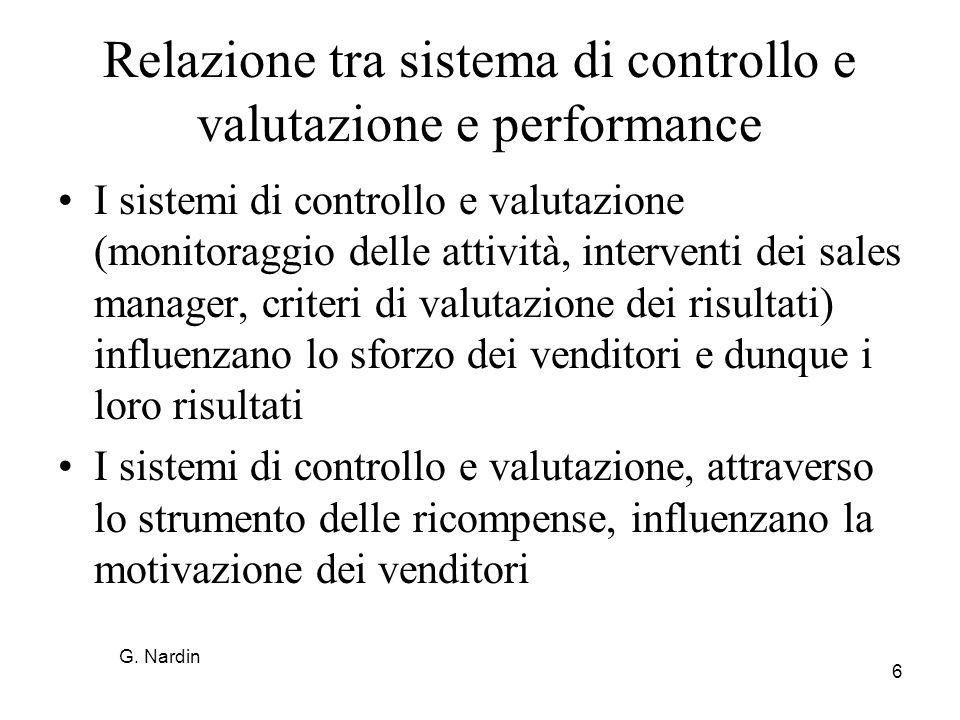 Relazione tra sistema di controllo e valutazione e performance