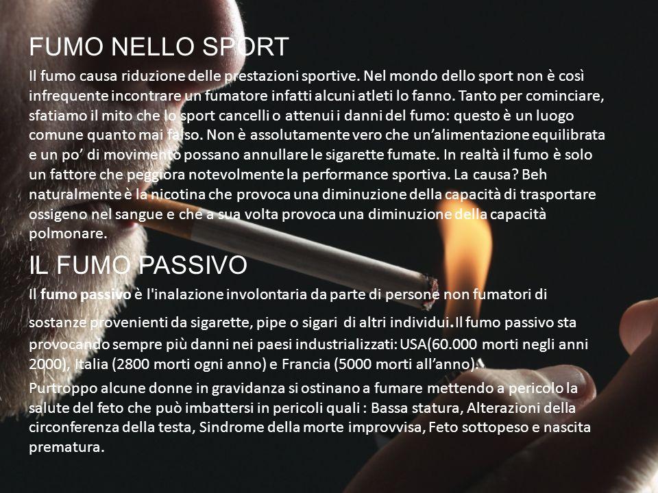 FUMO NELLO SPORT IL FUMO PASSIVO