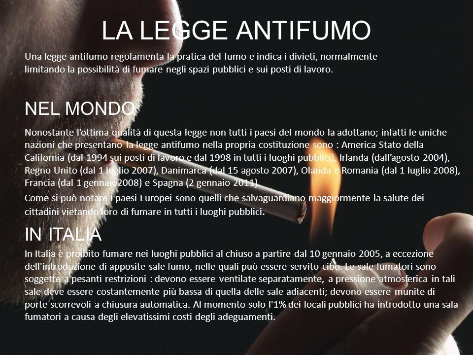 LA LEGGE ANTIFUMO NEL MONDO IN ITALIA