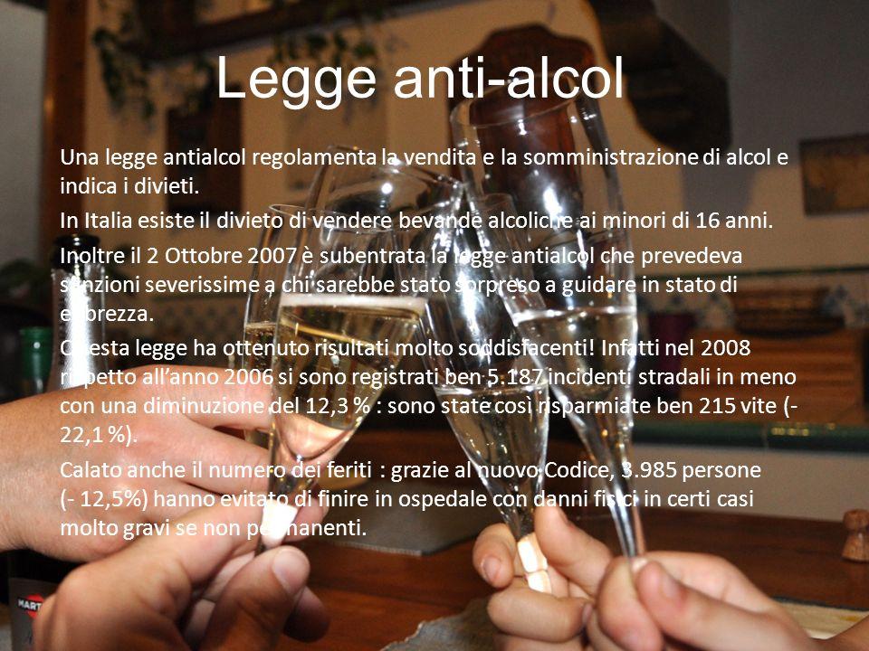 Legge anti-alcol Una legge antialcol regolamenta la vendita e la somministrazione di alcol e indica i divieti.