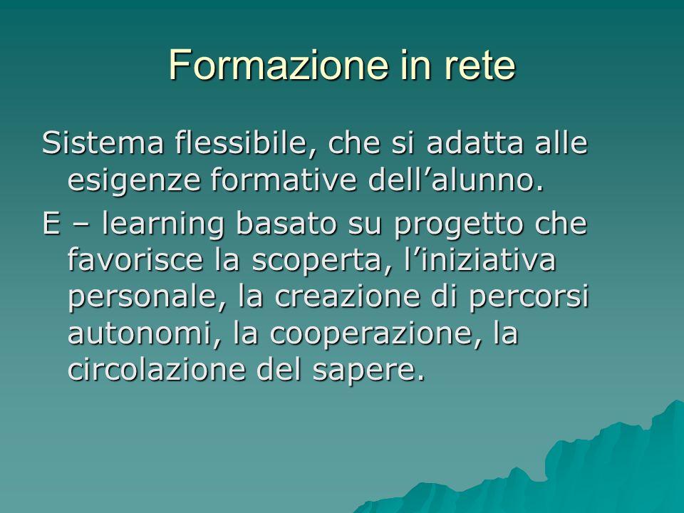 Formazione in rete Sistema flessibile, che si adatta alle esigenze formative dell'alunno.