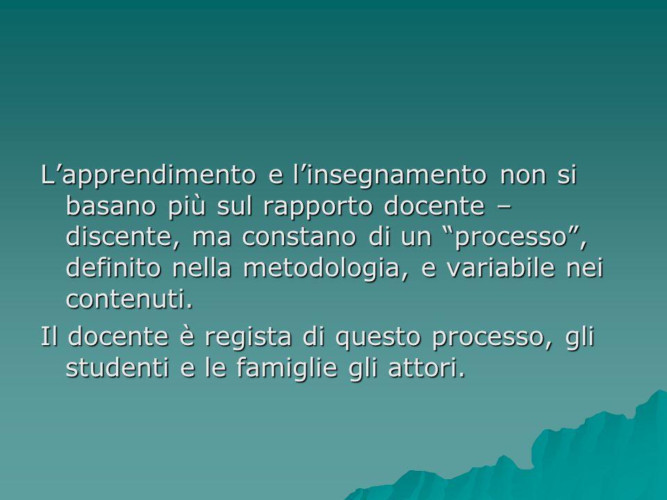 L'apprendimento e l'insegnamento non si basano più sul rapporto docente – discente, ma constano di un processo , definito nella metodologia, e variabile nei contenuti.