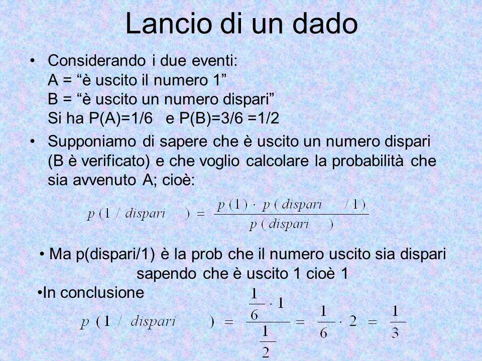 Lancio di un dado Considerando i due eventi: A = è uscito il numero 1 B = è uscito un numero dispari Si ha P(A)=1/6 e P(B)=3/6 =1/2.
