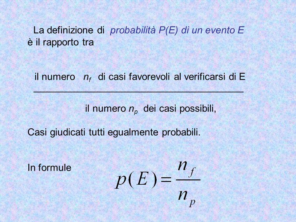 La definizione di probabilità P(E) di un evento E è il rapporto tra