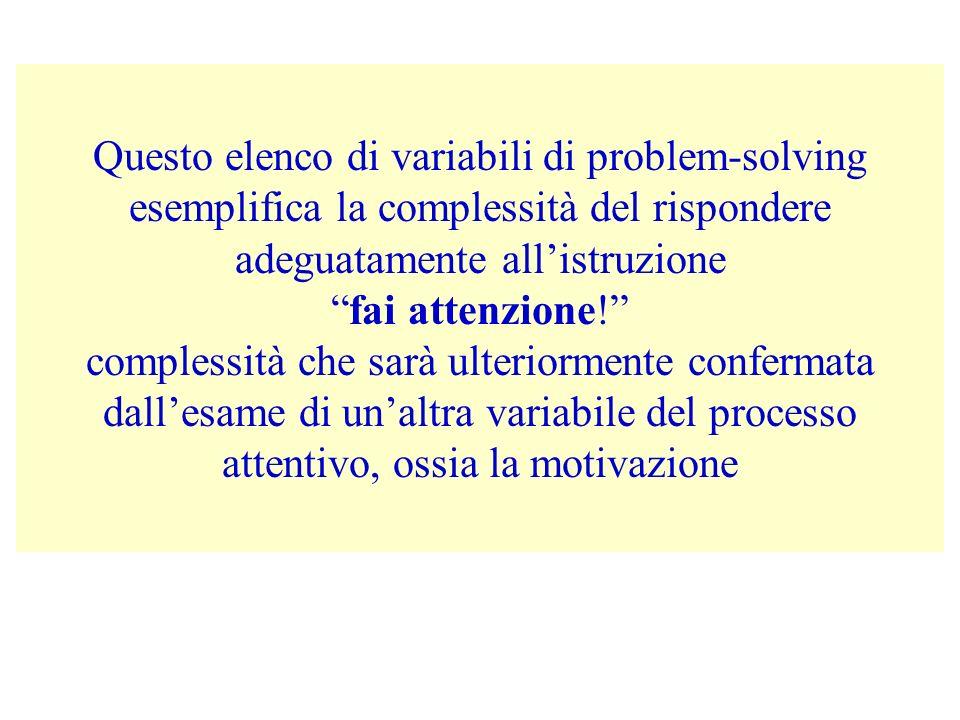 Questo elenco di variabili di problem-solving esemplifica la complessità del rispondere adeguatamente all'istruzione fai attenzione! complessità che sarà ulteriormente confermata dall'esame di un'altra variabile del processo attentivo, ossia la motivazione