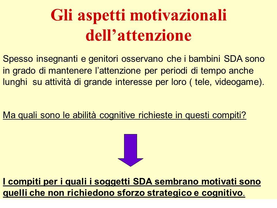 Gli aspetti motivazionali dell'attenzione