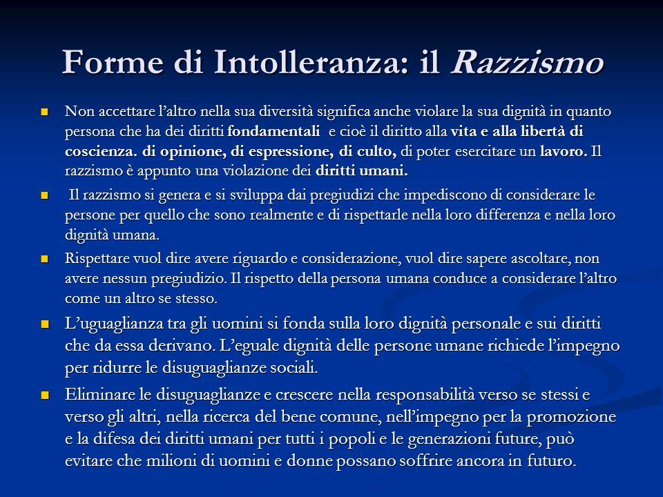 Forme di Intolleranza: il Razzismo