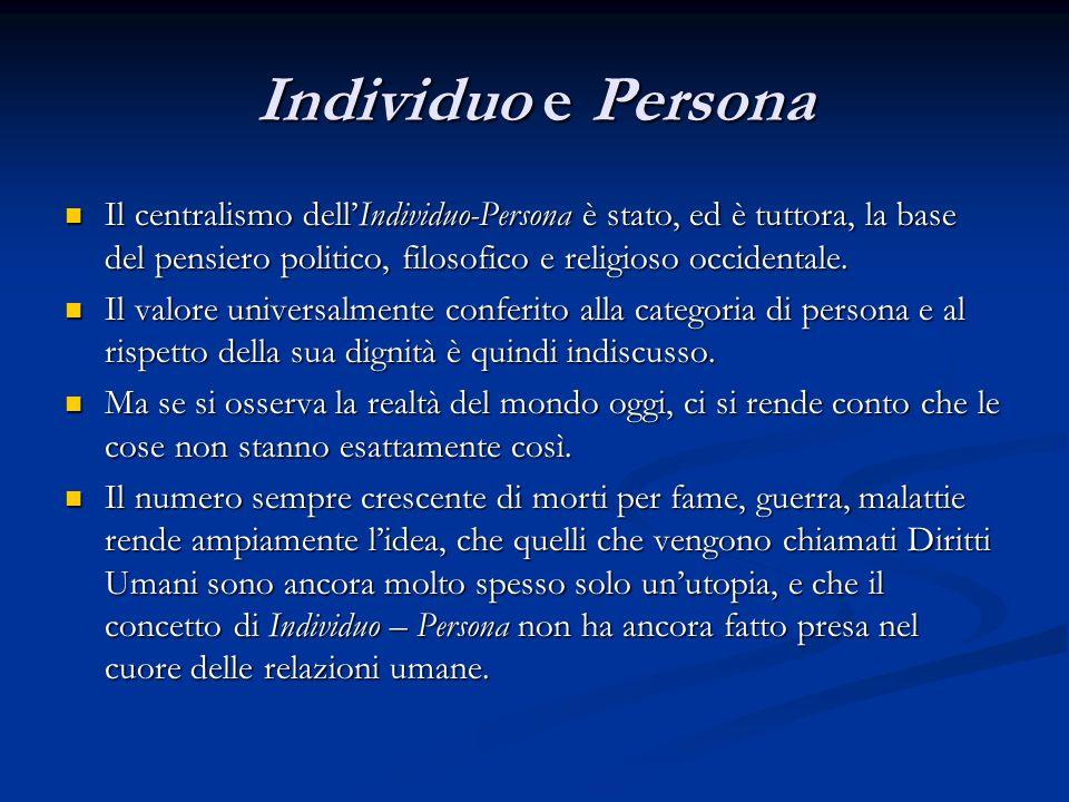 Individuo e Persona Il centralismo dell'Individuo-Persona è stato, ed è tuttora, la base del pensiero politico, filosofico e religioso occidentale.