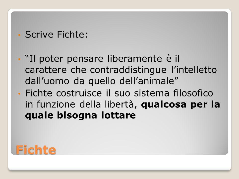 Scrive Fichte: Il poter pensare liberamente è il carattere che contraddistingue l'intelletto dall'uomo da quello dell'animale