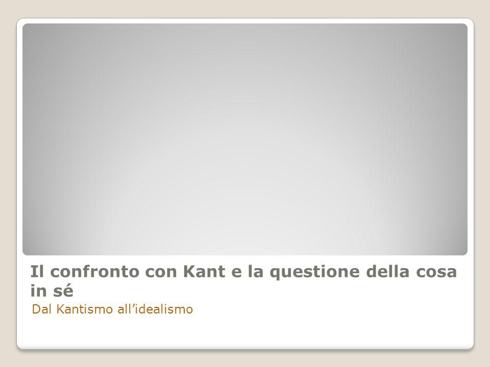 Il confronto con Kant e la questione della cosa in sé