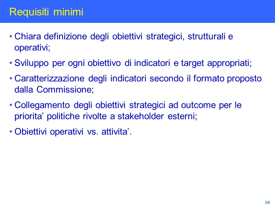 Requisiti minimiChiara definizione degli obiettivi strategici, strutturali e operativi;