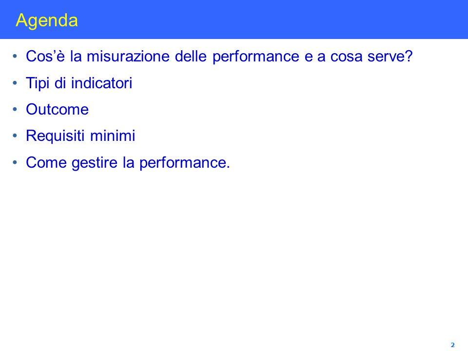 Agenda Cos'è la misurazione delle performance e a cosa serve