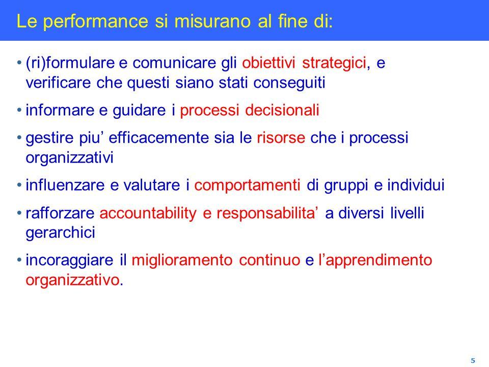 Le performance si misurano al fine di: