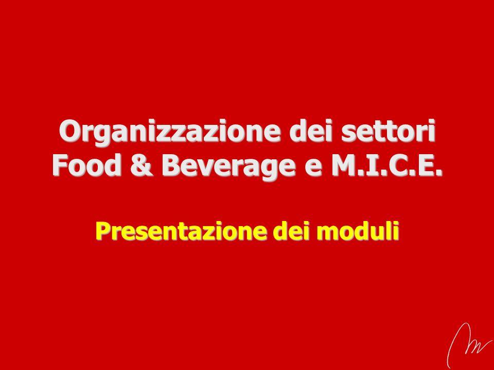 Organizzazione dei settori Food & Beverage e M. I. C. E