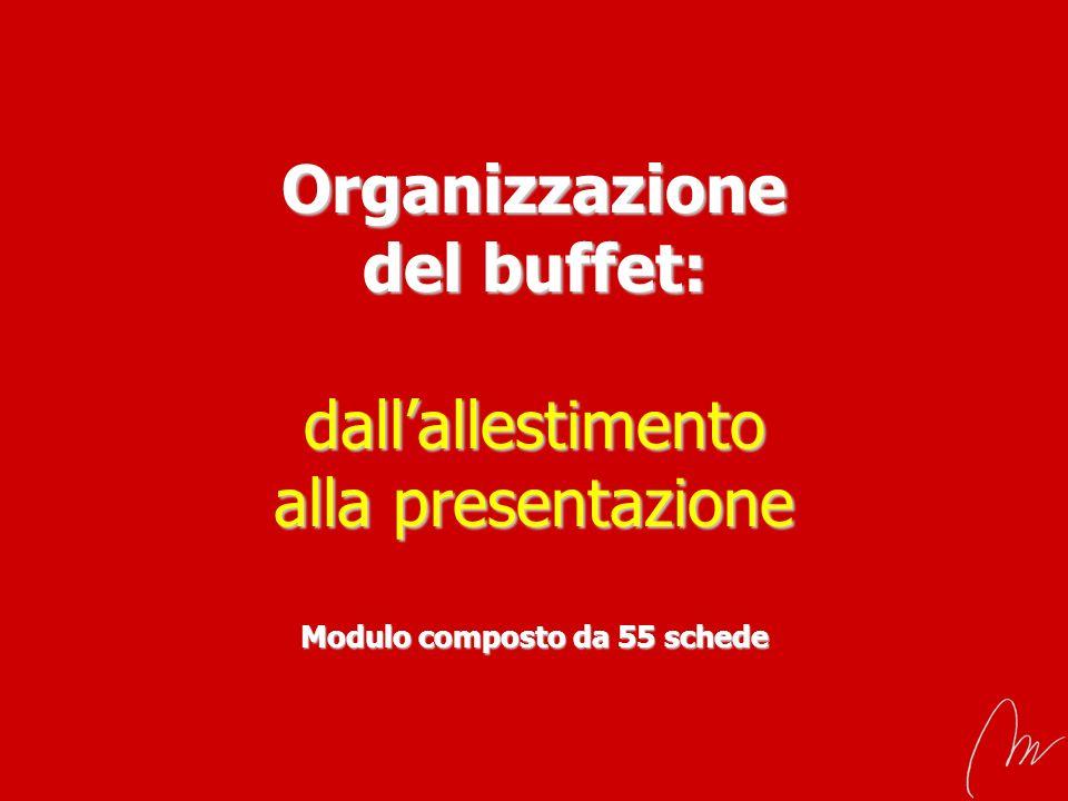 Organizzazione del buffet: dall'allestimento alla presentazione Modulo composto da 55 schede