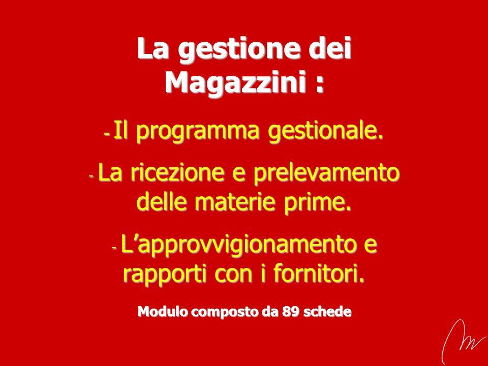 La gestione dei Magazzini : - Il programma gestionale