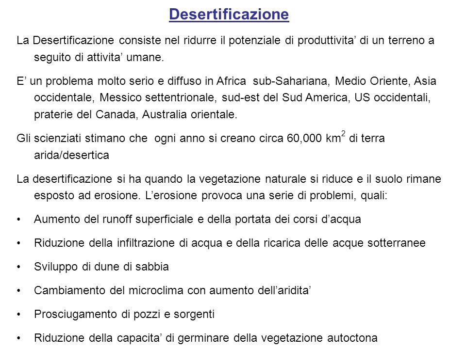 DesertificazioneLa Desertificazione consiste nel ridurre il potenziale di produttivita' di un terreno a seguito di attivita' umane.