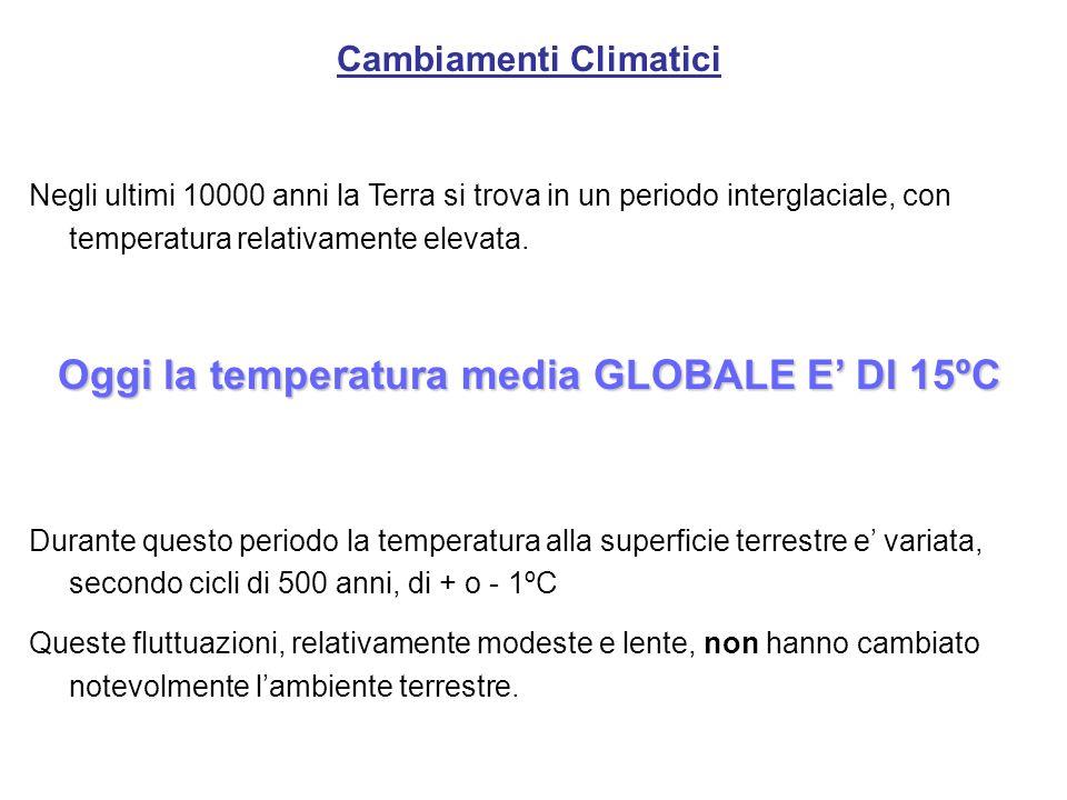 Cambiamenti Climatici Oggi la temperatura media GLOBALE E' DI 15ºC