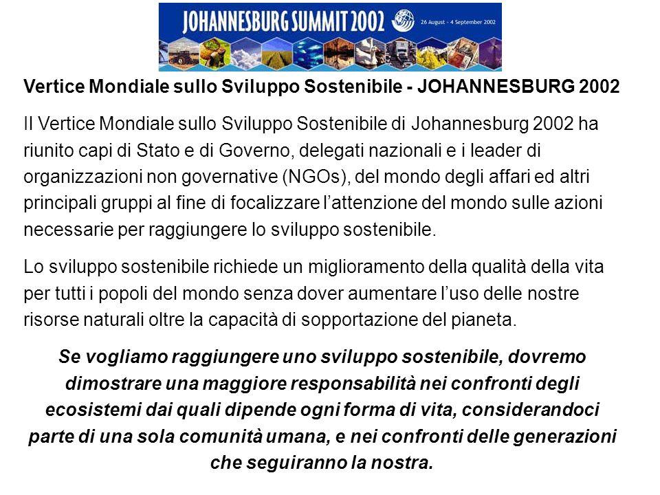 Vertice Mondiale sullo Sviluppo Sostenibile - JOHANNESBURG 2002