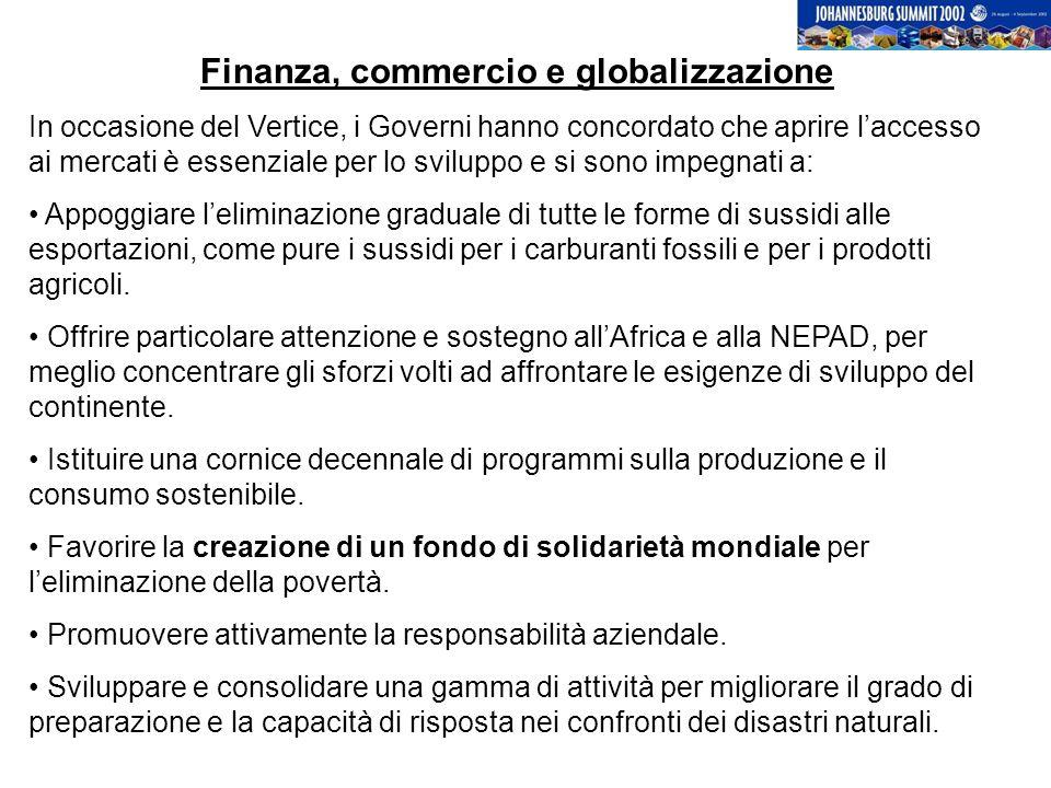 Finanza, commercio e globalizzazione