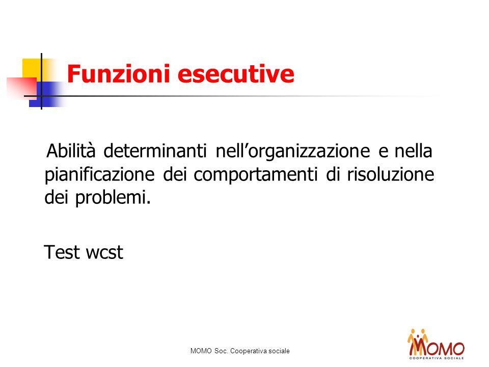 Funzioni esecutiveAbilità determinanti nell'organizzazione e nella pianificazione dei comportamenti di risoluzione dei problemi.