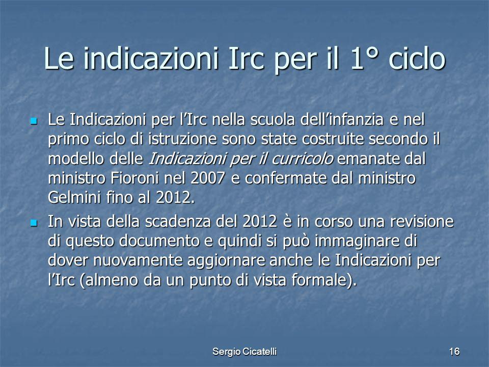 Le indicazioni Irc per il 1° ciclo