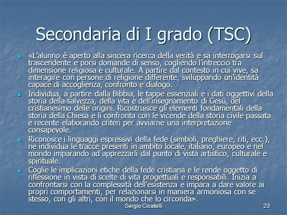 Secondaria di I grado (TSC)