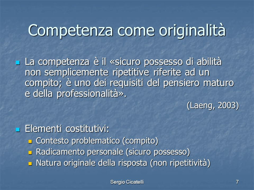 Competenza come originalità