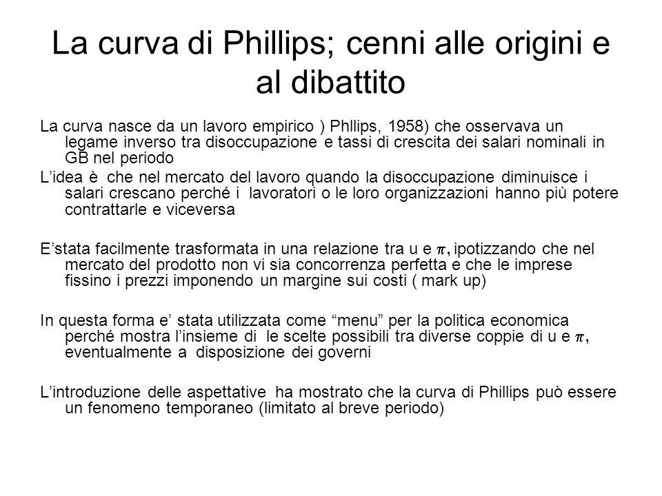 La curva di Phillips; cenni alle origini e al dibattito