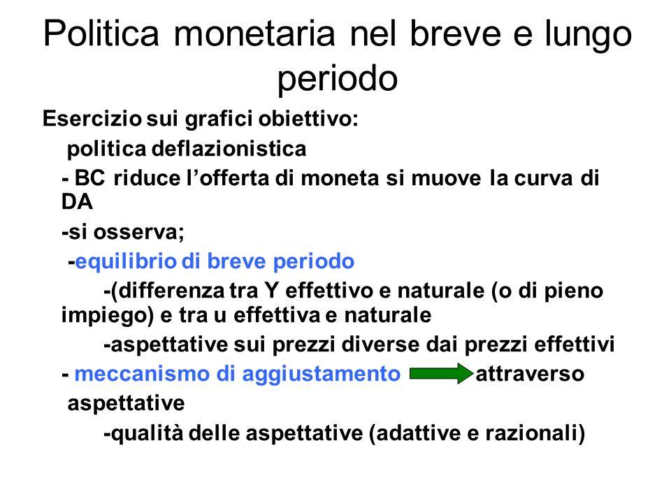 Politica monetaria nel breve e lungo periodo