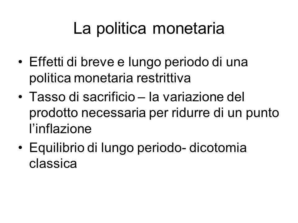 La politica monetaria Effetti di breve e lungo periodo di una politica monetaria restrittiva.