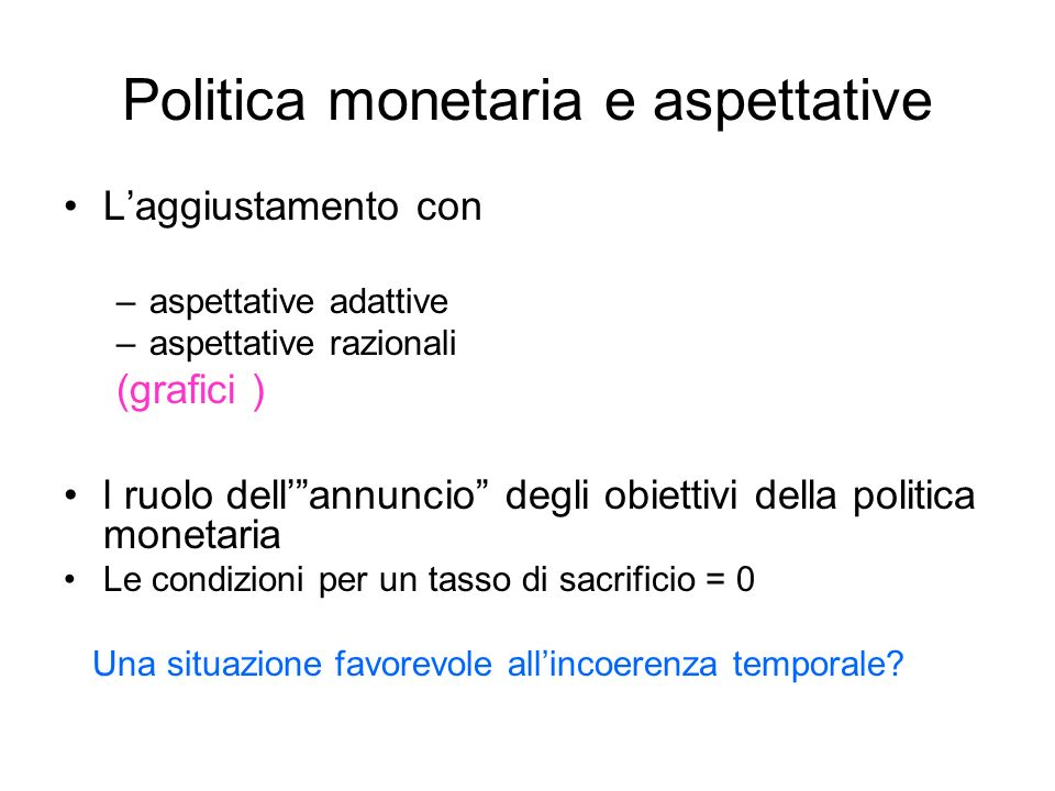 Politica monetaria e aspettative
