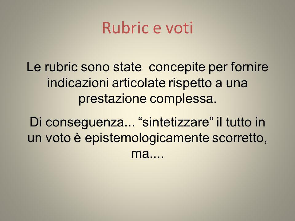 Rubric e voti Le rubric sono state concepite per fornire indicazioni articolate rispetto a una prestazione complessa.