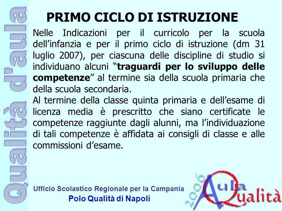 PRIMO CICLO DI ISTRUZIONE