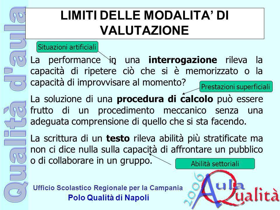LIMITI DELLE MODALITA' DI VALUTAZIONE