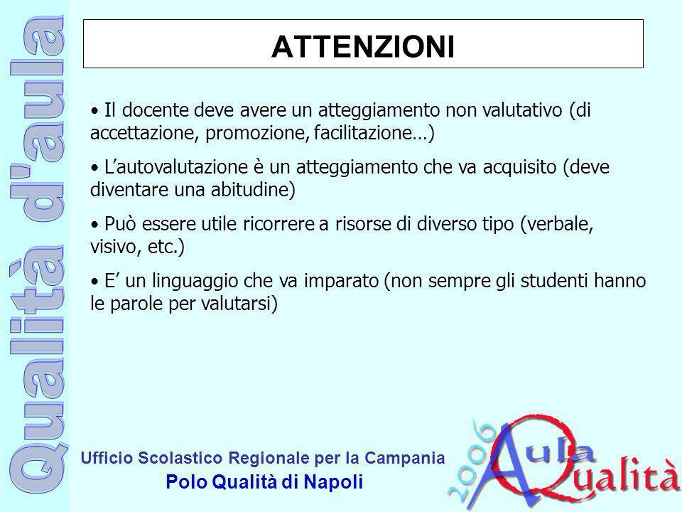 ATTENZIONI Il docente deve avere un atteggiamento non valutativo (di accettazione, promozione, facilitazione…)