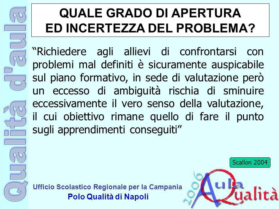 QUALE GRADO DI APERTURA ED INCERTEZZA DEL PROBLEMA