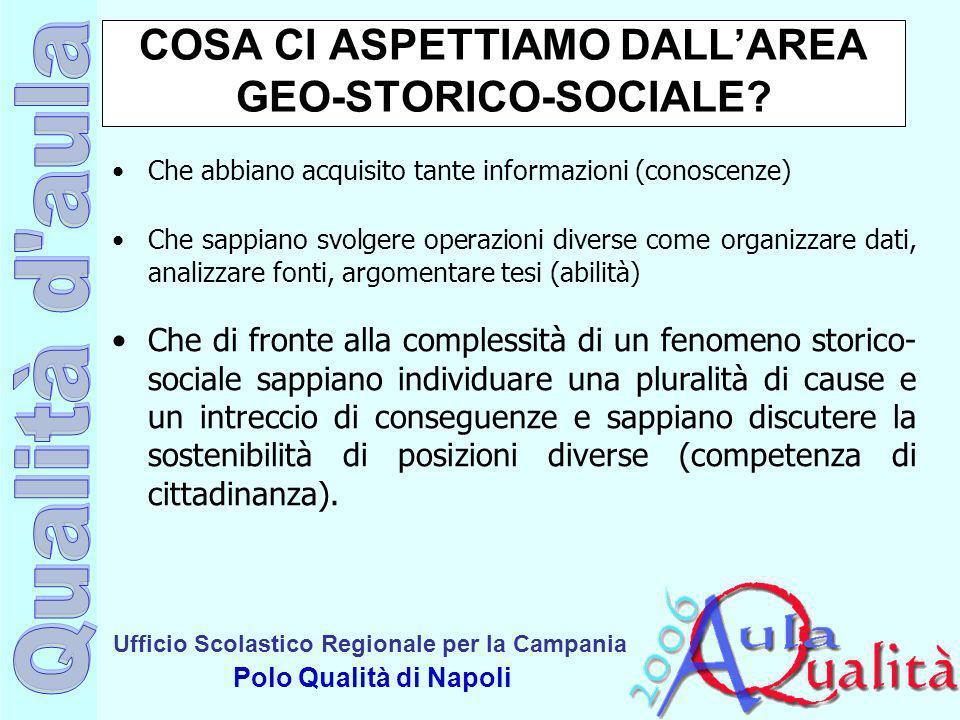 COSA CI ASPETTIAMO DALL'AREA GEO-STORICO-SOCIALE