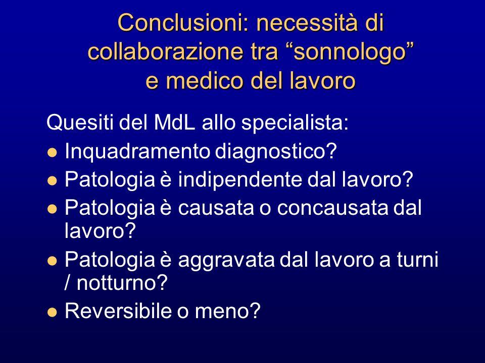 Conclusioni: necessità di collaborazione tra sonnologo e medico del lavoro