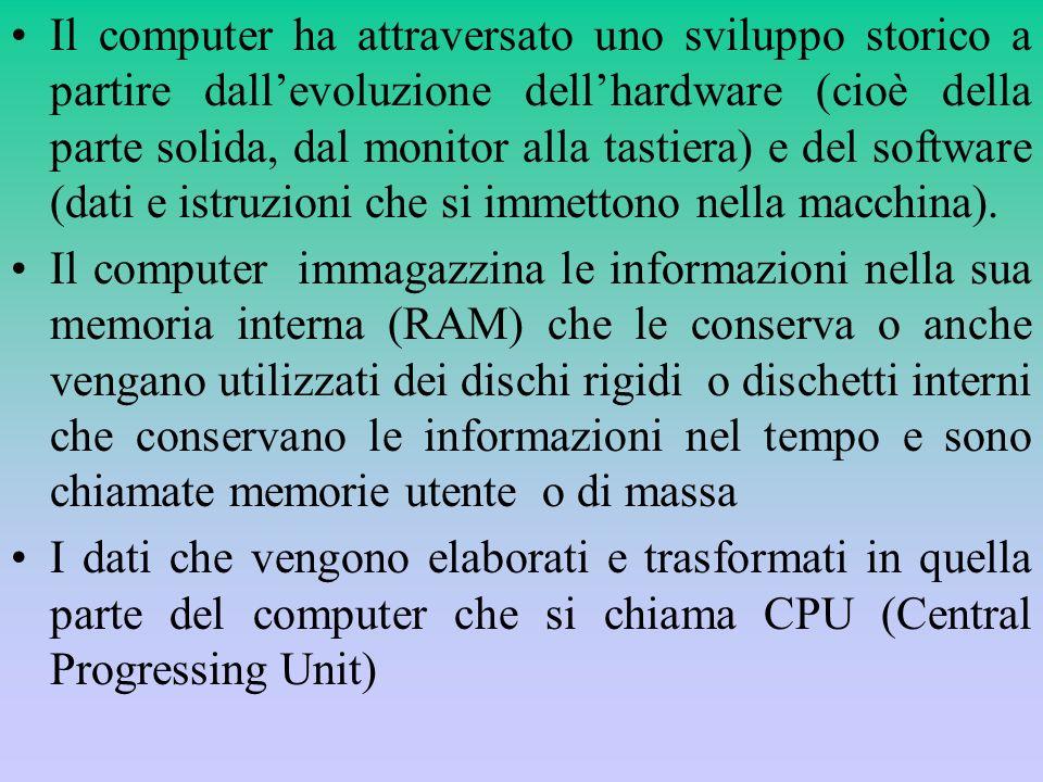 Il computer ha attraversato uno sviluppo storico a partire dall'evoluzione dell'hardware (cioè della parte solida, dal monitor alla tastiera) e del software (dati e istruzioni che si immettono nella macchina).