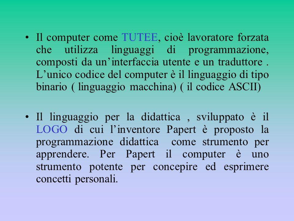 Il computer come TUTEE, cioè lavoratore forzata che utilizza linguaggi di programmazione, composti da un'interfaccia utente e un traduttore . L'unico codice del computer è il linguaggio di tipo binario ( linguaggio macchina) ( il codice ASCII)