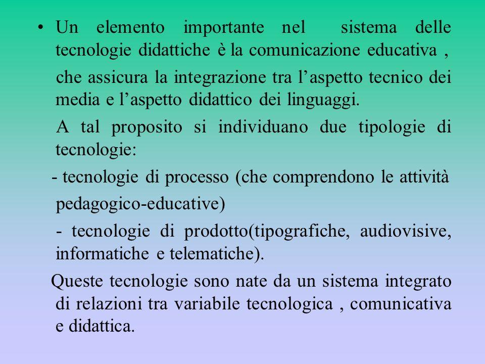 Un elemento importante nel sistema delle tecnologie didattiche è la comunicazione educativa ,