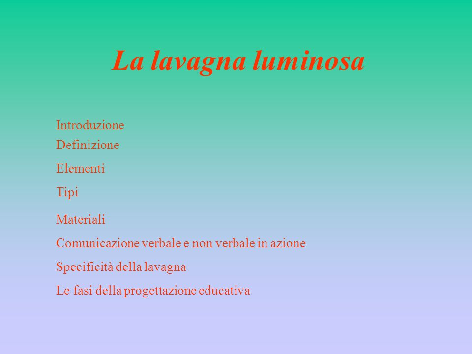 La lavagna luminosa Introduzione Definizione Elementi Tipi Materiali