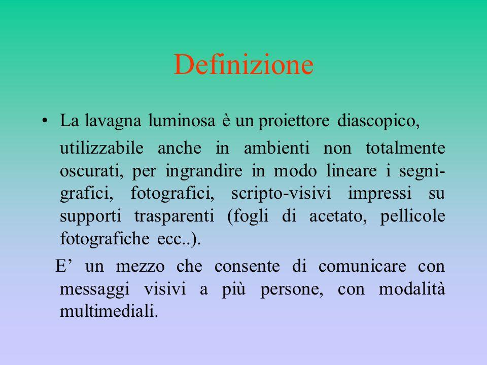 Definizione La lavagna luminosa è un proiettore diascopico,