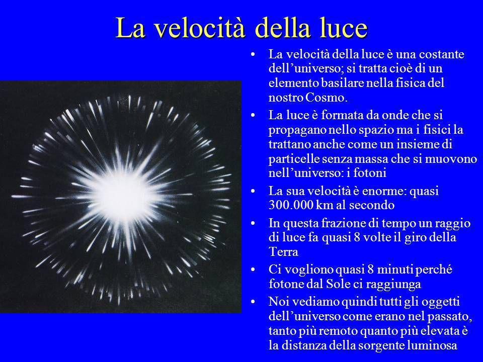 La velocità della luce La velocità della luce è una costante dell'universo; si tratta cioè di un elemento basilare nella fisica del nostro Cosmo.