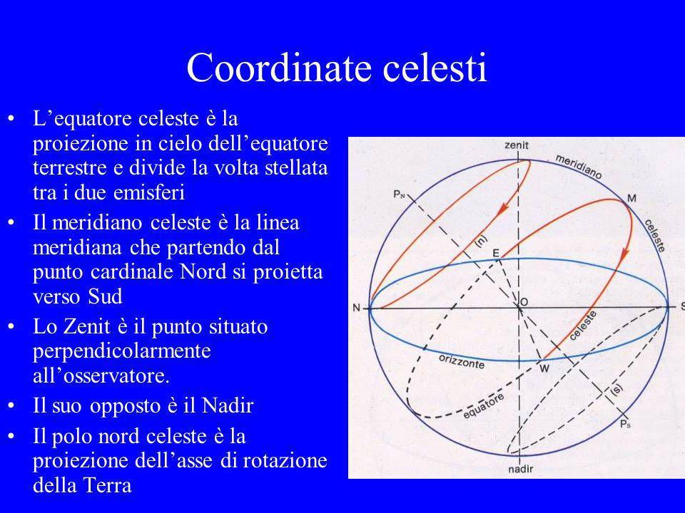 Coordinate celesti L'equatore celeste è la proiezione in cielo dell'equatore terrestre e divide la volta stellata tra i due emisferi.
