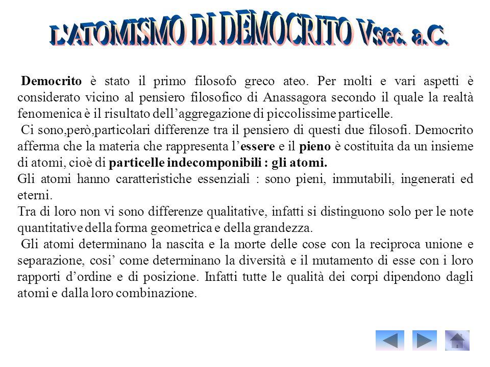 L ATOMISMO DI DEMOCRITO Vsec. a.C.