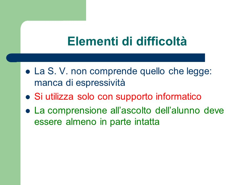 Elementi di difficoltà