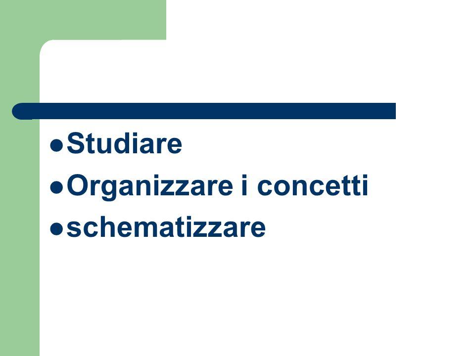 Studiare Organizzare i concetti schematizzare