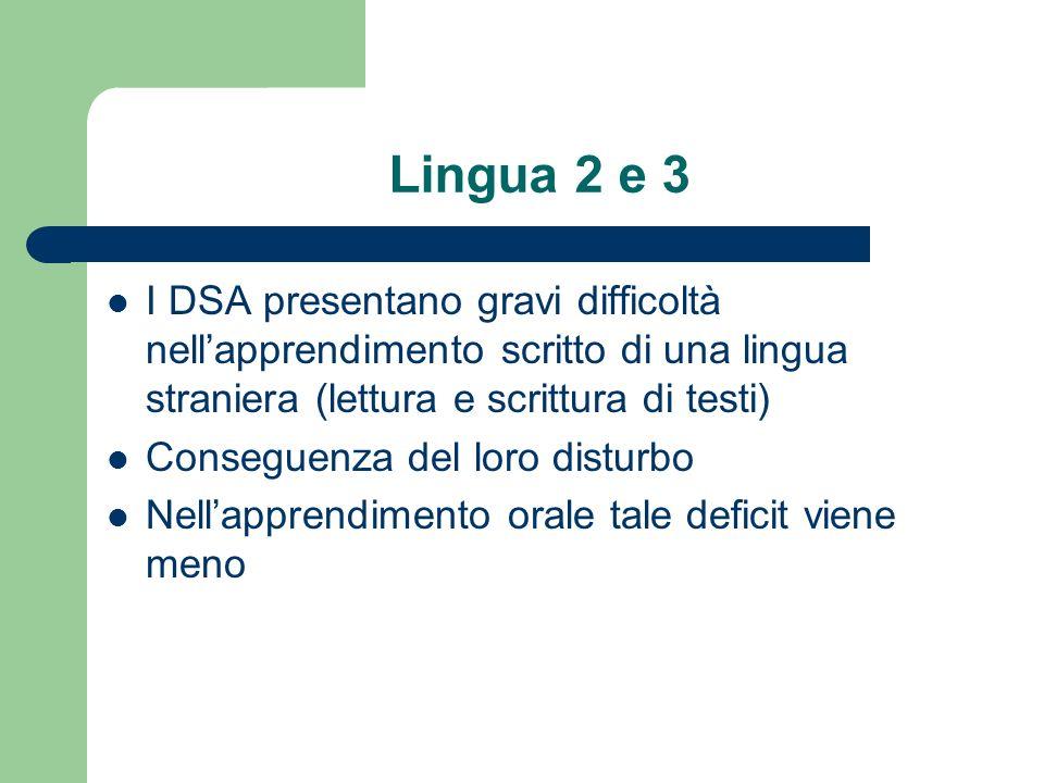 Lingua 2 e 3 I DSA presentano gravi difficoltà nell'apprendimento scritto di una lingua straniera (lettura e scrittura di testi)